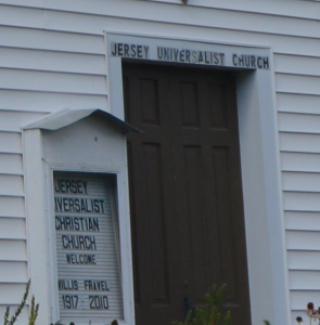 Closeup of door and sign